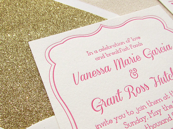 letterpress wedding invitation pink and gold glitter