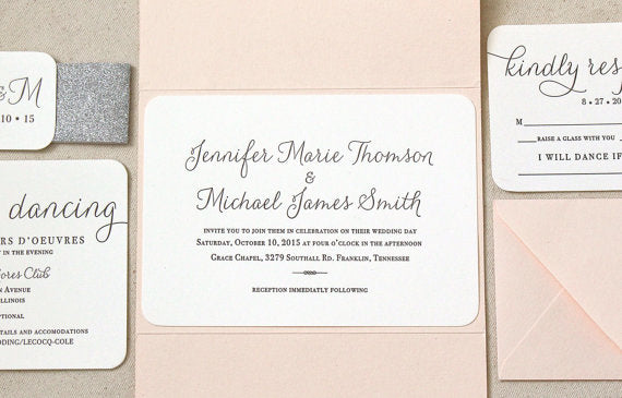 letterpress wedding invitation suite willow