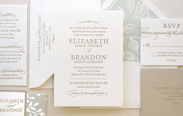 letterpress wedding invitation suite spearmint