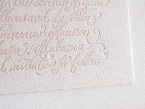 letterpress save the date calligraphy