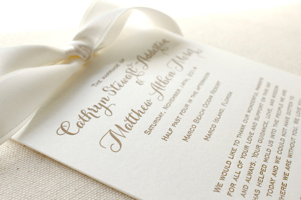 letterpress wedding invitation program ribbon
