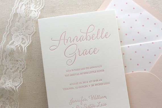 letterpress birth announcements annabelle grace