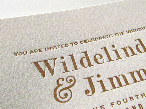 letterpress wedding invitations mint and gold