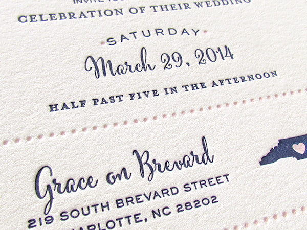 letterpress wedding invitation preppy two color