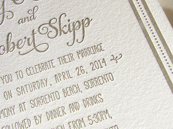 letterpress wedding invitation casual beach