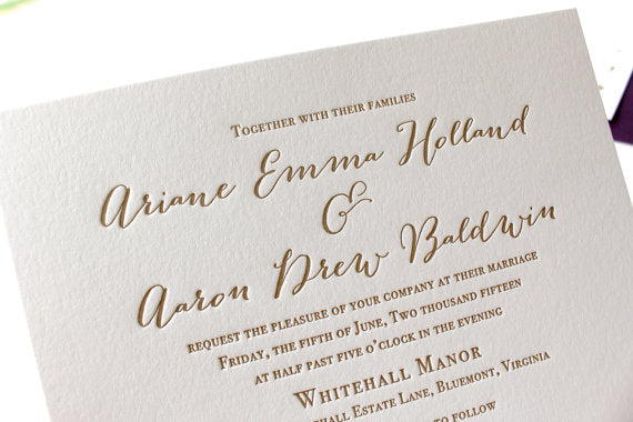 letterpress wedding invitation wildflower suite