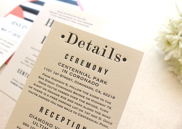 letterpress wedding suite info card hazel