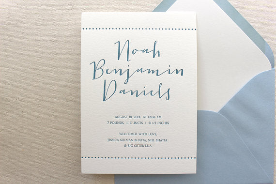letterpress birth announcements noah benjamin