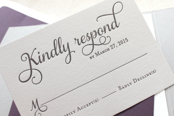 letterpress wedding invitation rsvp card violet suite
