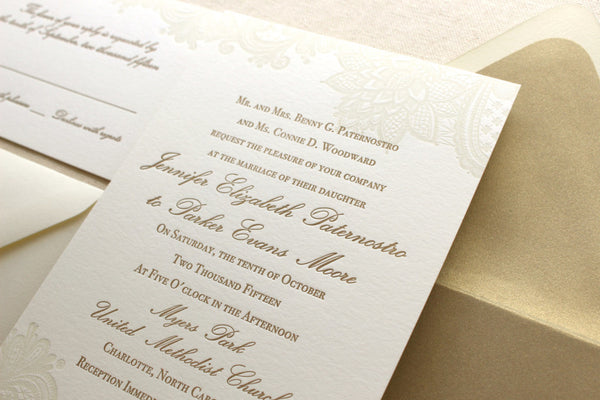 letterpress wedding invitation suite vintage floral lace