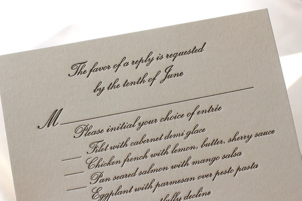 letterpress wedding invitation response card menu conservatory