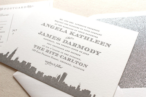 letterpress wedding invitation skyline art deco