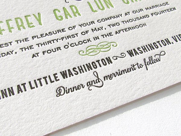 letterpress wedding invitation spring green