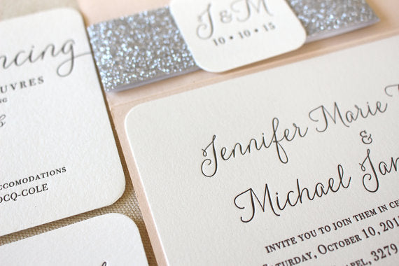 letterpress wedding invitation rounded corner willow suite