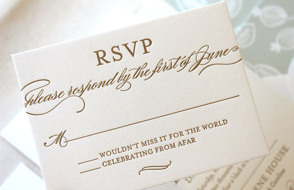 letterpress wedding rsvp response card spearmint