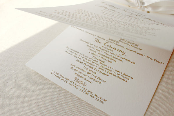 letterpress wedding invitation program multi page