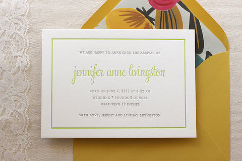 letterpress birth announcements jennifer livingston