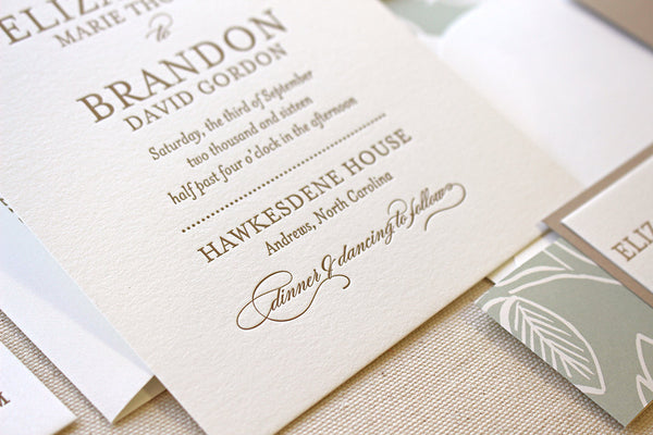 letterpress wedding invitation spearmint