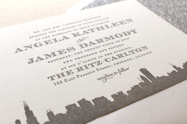 letterpress wedding invitation skyline art deco empire