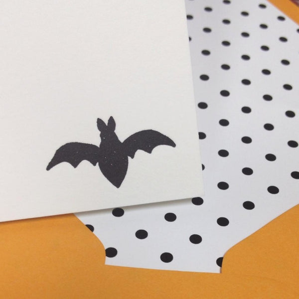 letterpress fall stationery bat