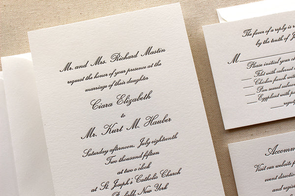 letterpress wedding invitation suite conservatory