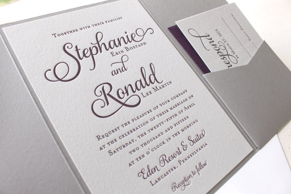 Violet letterpress printed wedding invitations