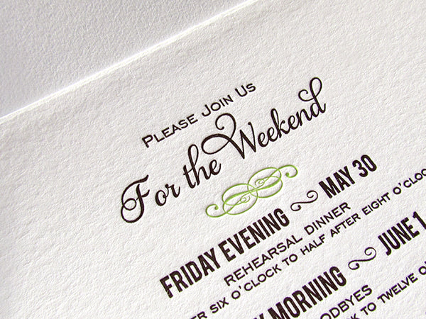 letterpress wedding rehearsal card spring green