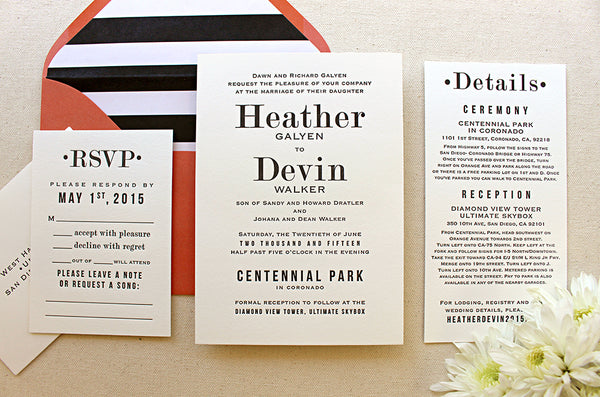 letterpress wedding invitation suite hazel