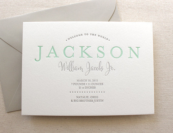 letterpress birth announcements jackson jacobs