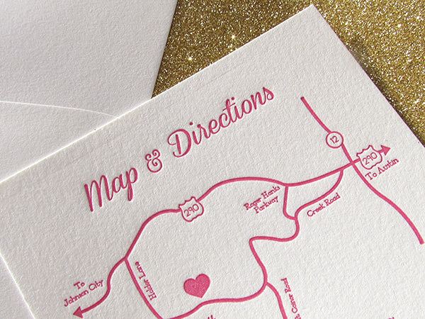 letterpress wedding invitation custom map pink and gold