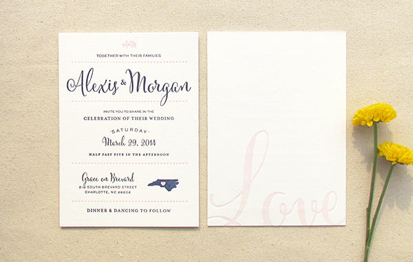 letterpress wedding invitation suite preppy two color
