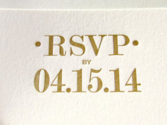 letterpress rsvp card mint and gold
