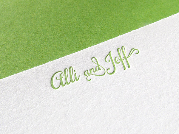 letterpress wedding stationery spring green
