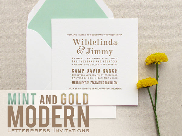 letterpress wedding invitations mint and gold modern