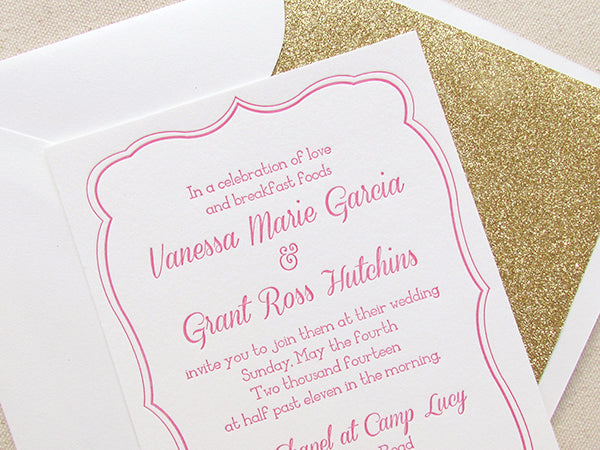 letterpress wedding invitation pink and gold
