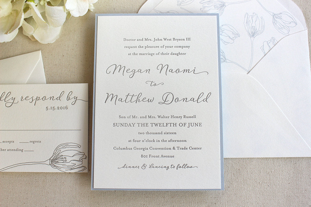 Spring Lily Letterpress Wedding Invitation Suite