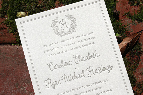 Garden inspired letterpress wedding invitations