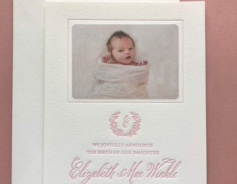 Elizabeth Mae - Letterpress Birth Announcements