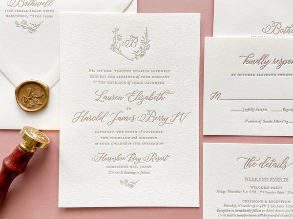 The Simplicity Suite - SAMPLE Letterpress Wedding Invitation