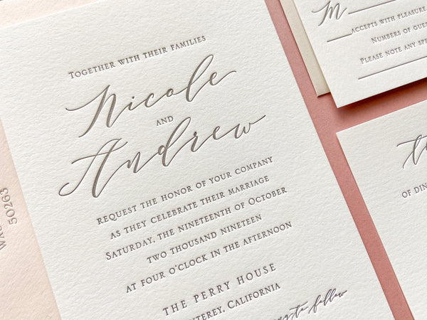 The Nicole Suite - SAMPLE Letterpress Wedding Invitation