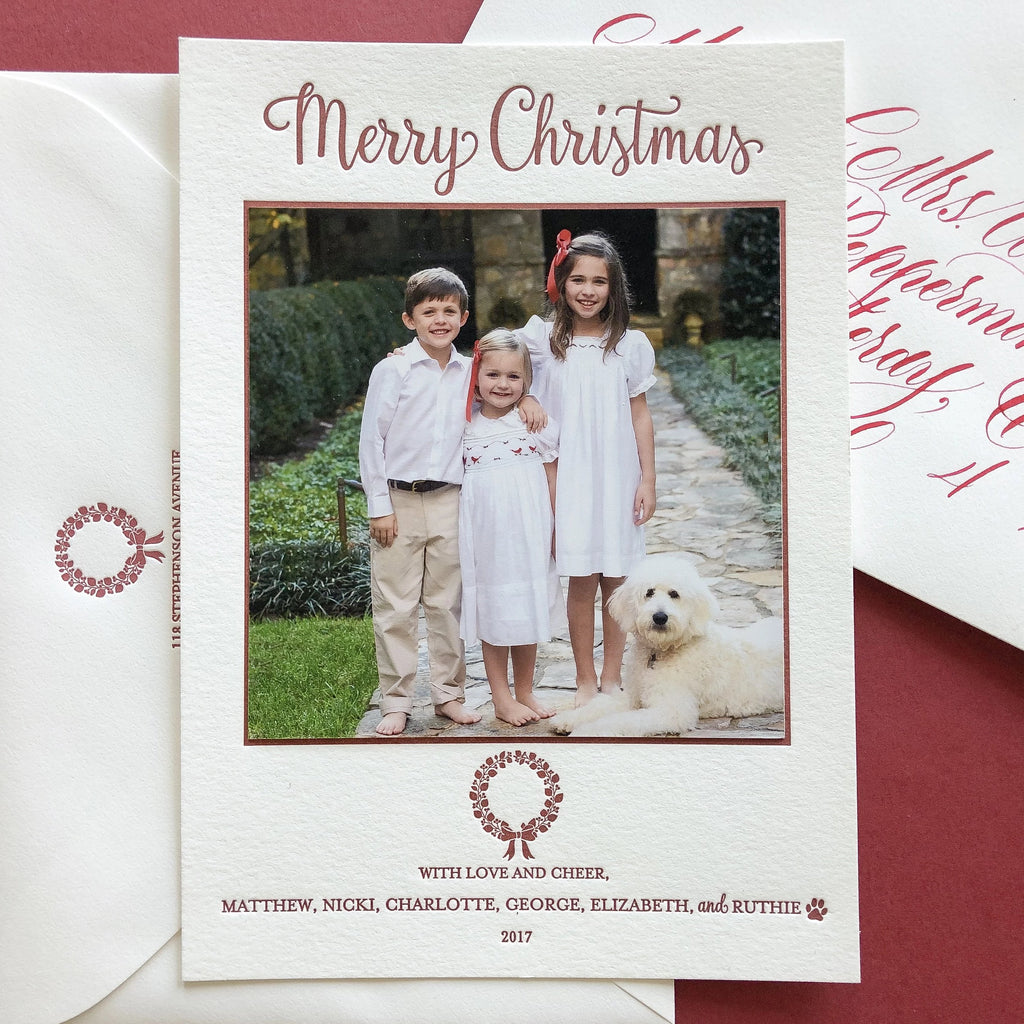 Laurel Wreath - Letterpress Holiday Cards