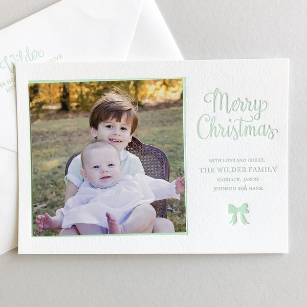 Horizontal Merry Christmas - Letterpress Holiday Cards