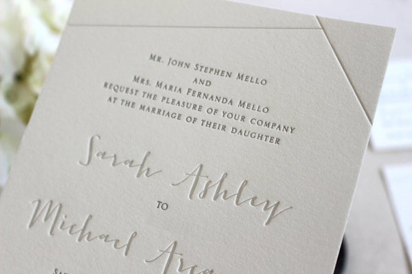 The Juniper Suite - SAMPLE Letterpress Wedding Invitation