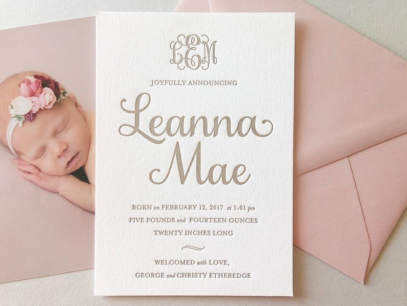 Leanna - Letterpress Birth Announcements