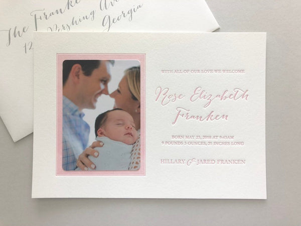 Rose - Letterpress Birth Announcements