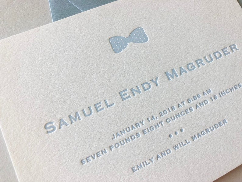 Samuel - Letterpress Birth Announcements