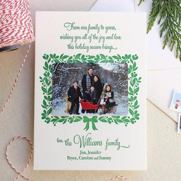 Holly Wreath - Letterpress Holiday Cards