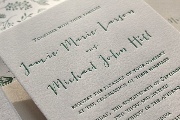 The Fern Suite - SAMPLE Letterpress Wedding Invitation
