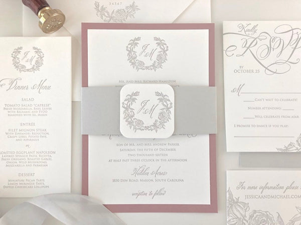 The Hamilton Suite - SAMPLE Letterpress Wedding Invitation