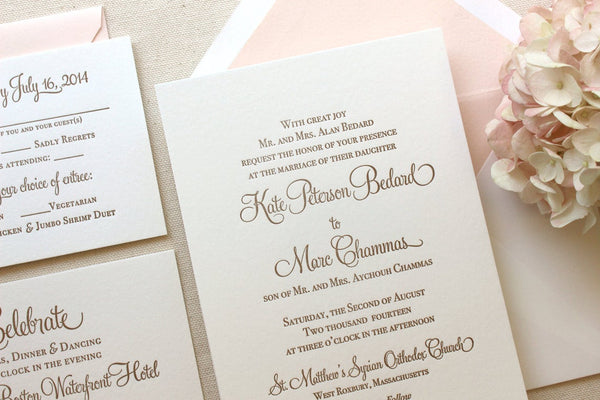 The Hydrangea Suite - SAMPLE Letterpress Wedding Invitation